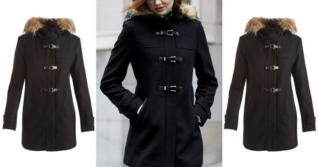 3 views of Cole Haan Buckle Accent Hooded Coat