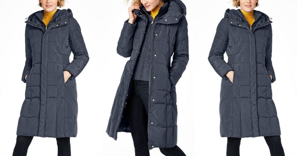 3 views of Cole Haan Graphite Down Coat