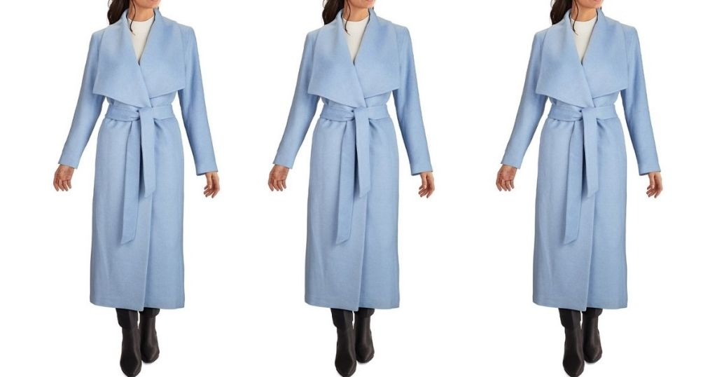 3 views of Cole Haan Long Belted Coat