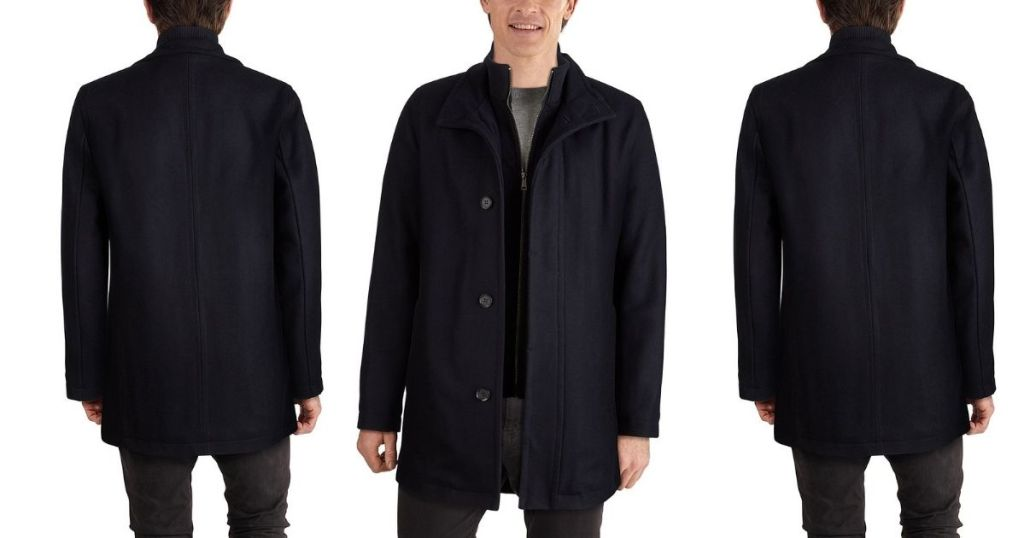 3 views of Cole Haan Navy Wool Coat