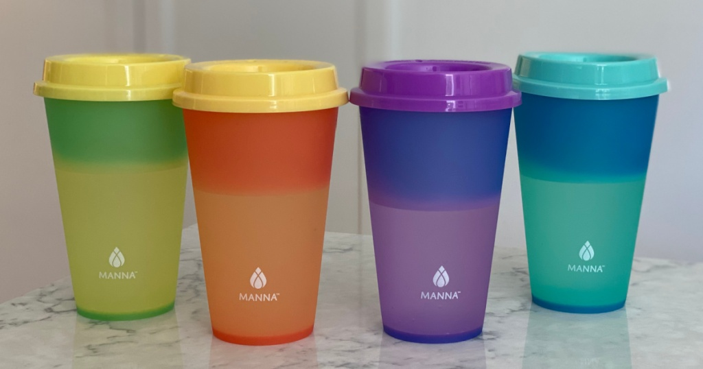 costco color changing tumblers sitting on a kitchen counter