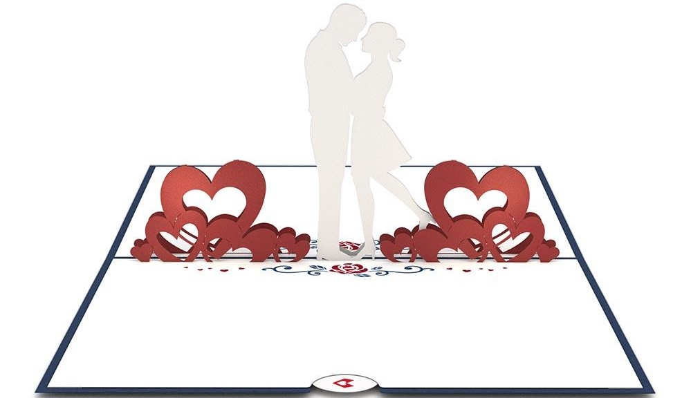 pop-up card with hearts and couple
