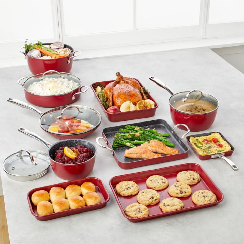 cookware set with food in it