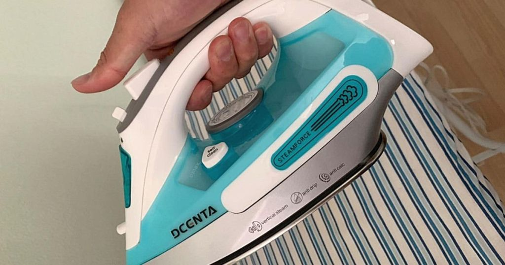 hand holding blue and white Dcenta steam iron