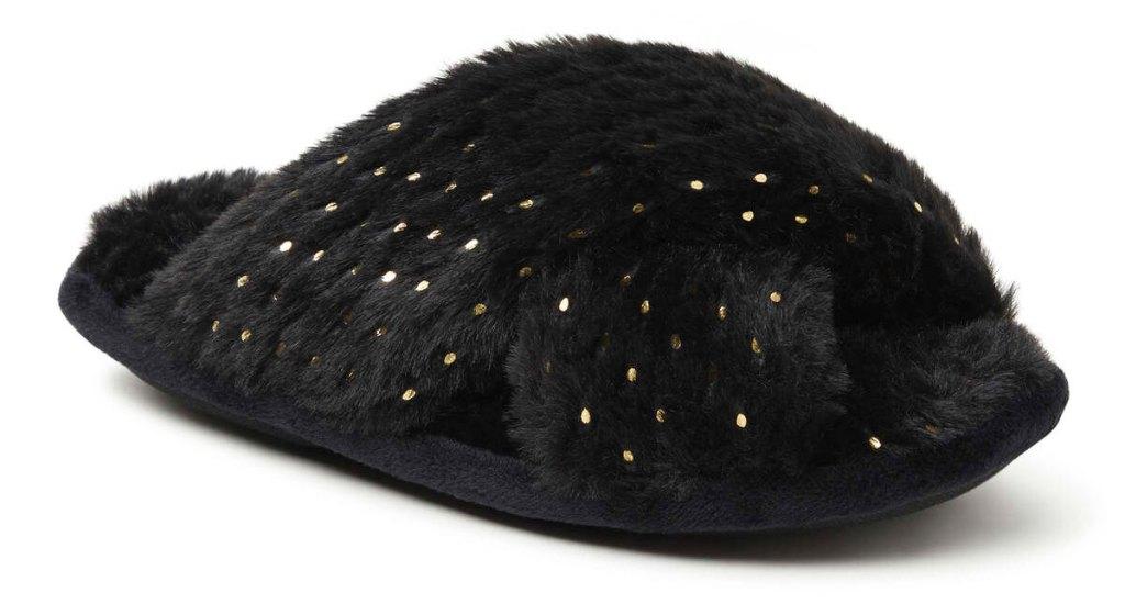 black fluffy slide slipper with shiny gold dots allover