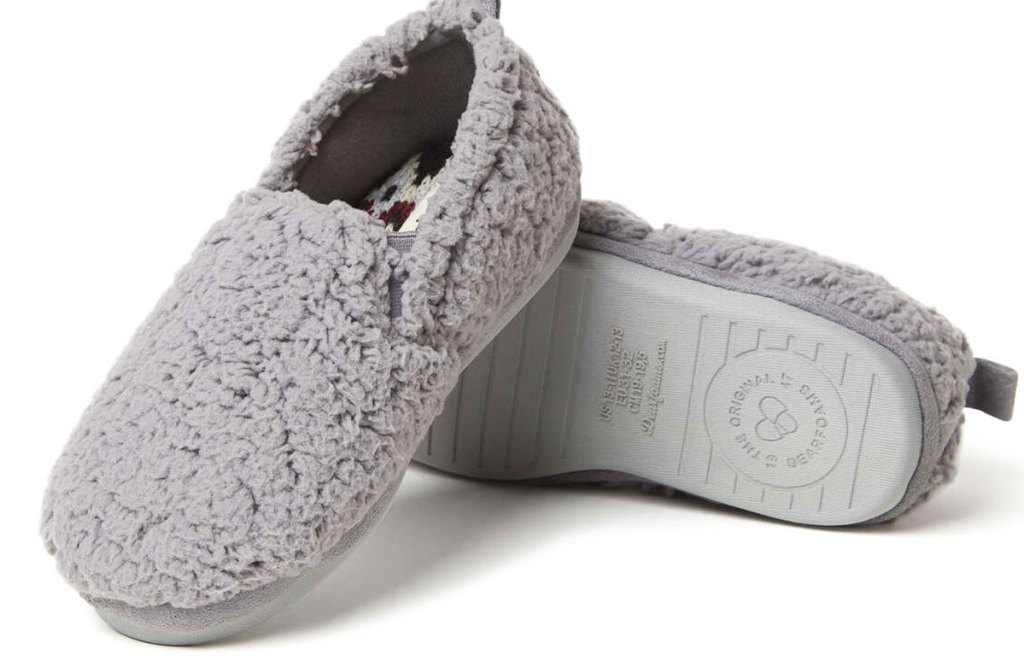 pair of grey kids sherpa closed-back slippers