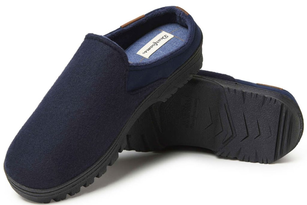 pair of navy blue men's slip-on slippers with hard soles