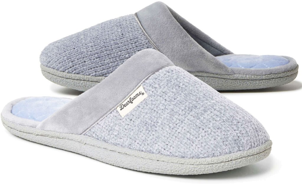 pairof grey knit women's slippers with hard soles