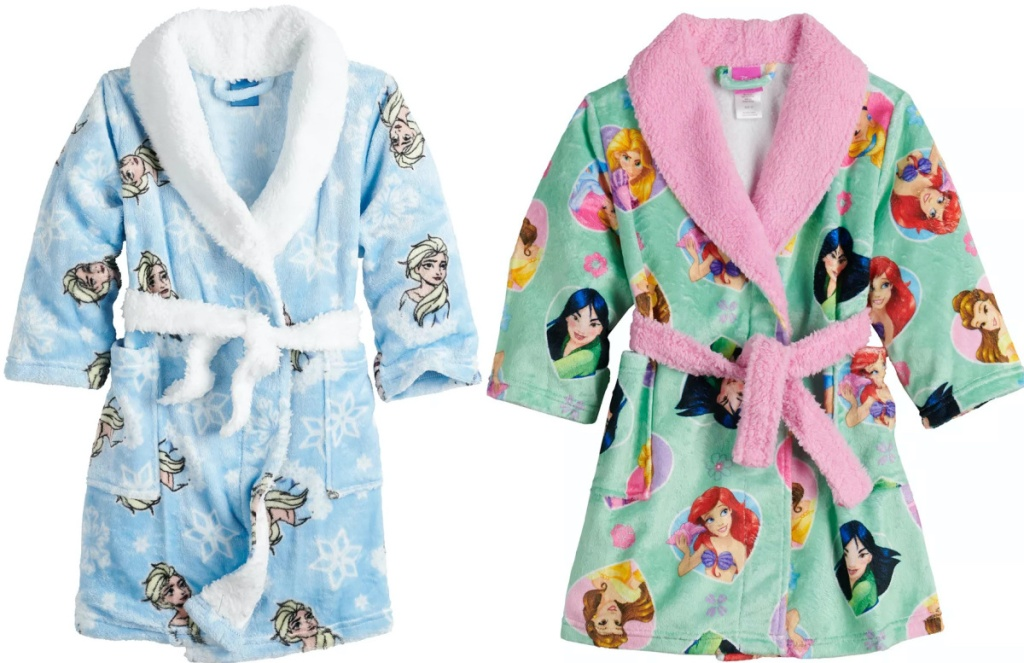 two toddler girls Disney robes