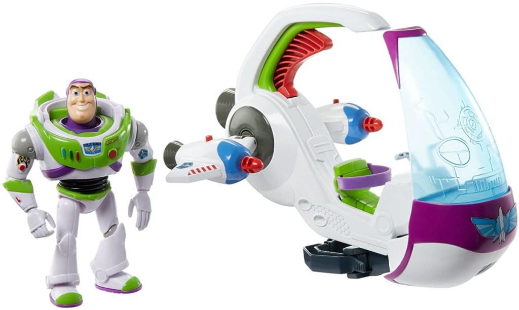 Buzz Lightyear figure and spaceship vehicle