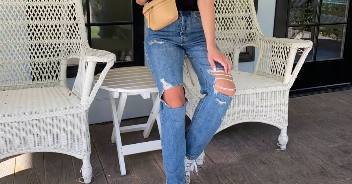 girl wearing Distressed Straight Jeans