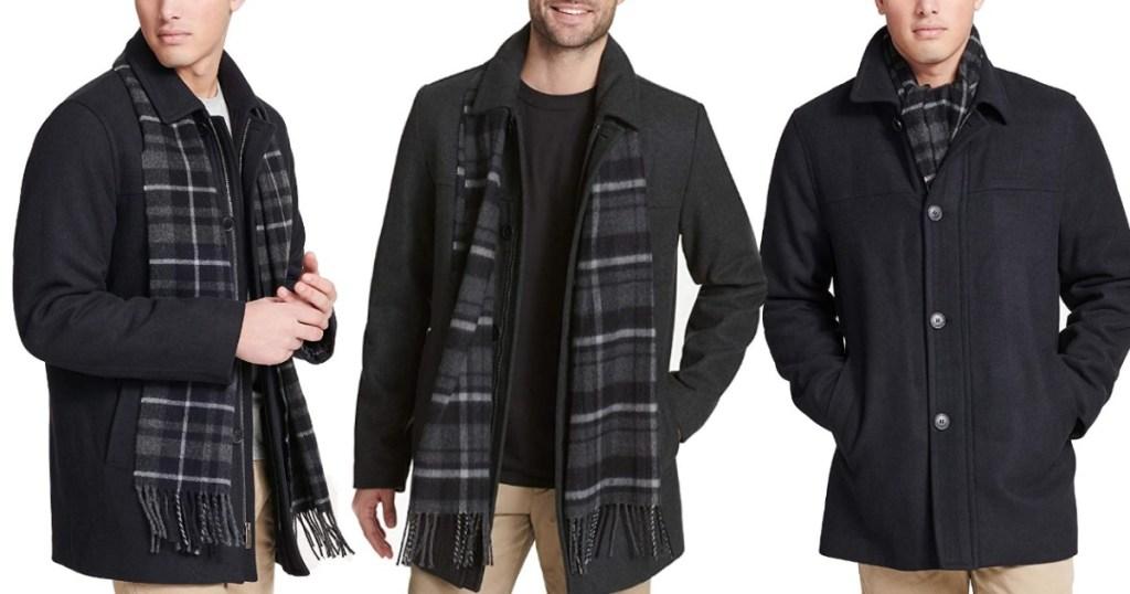 men modeling Dockers Wool Coat
