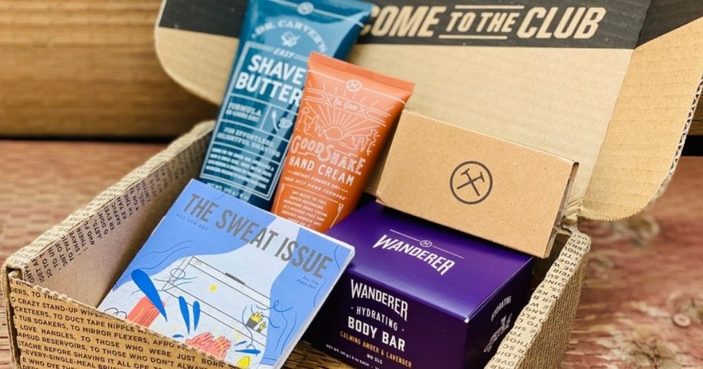 Dollar Shave Club box opened revealing contents