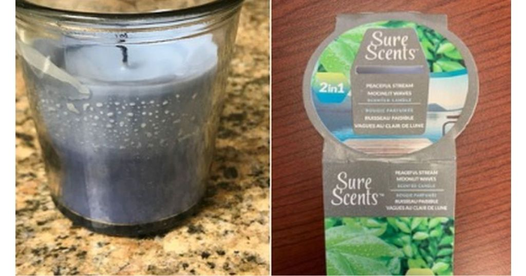 Dollar Tree Sure Scents 2in1 Candle and label