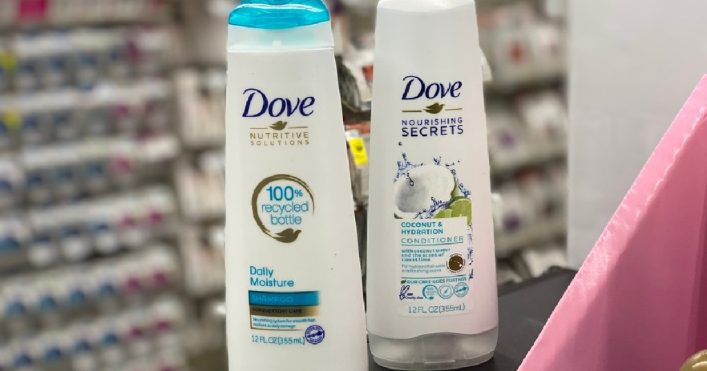two bottles of shampoo and conditioner in store