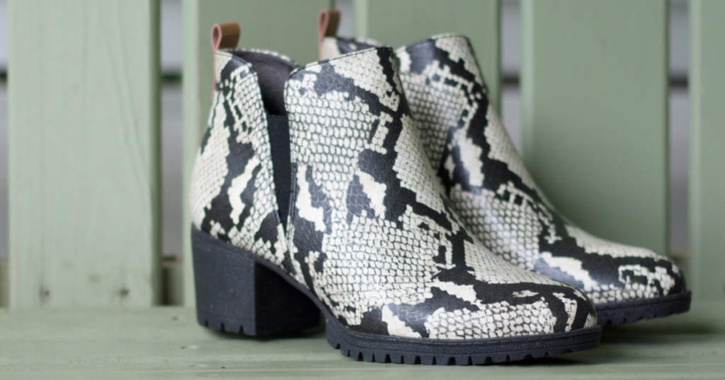womens white and black snake print boots