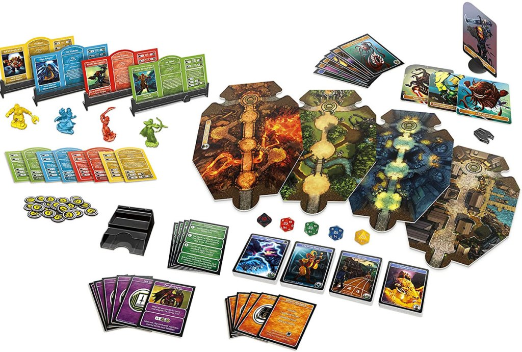 Dungeons & Dragons Adventure Begins cards and pieces laid out