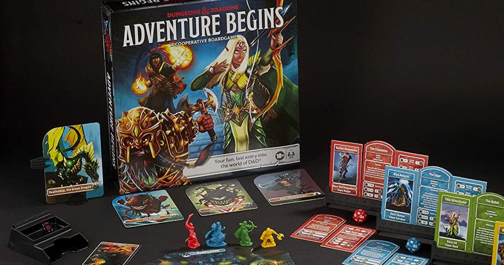Dungeons & Dragons Adventure Begins Board Game with cards and pieces laid out