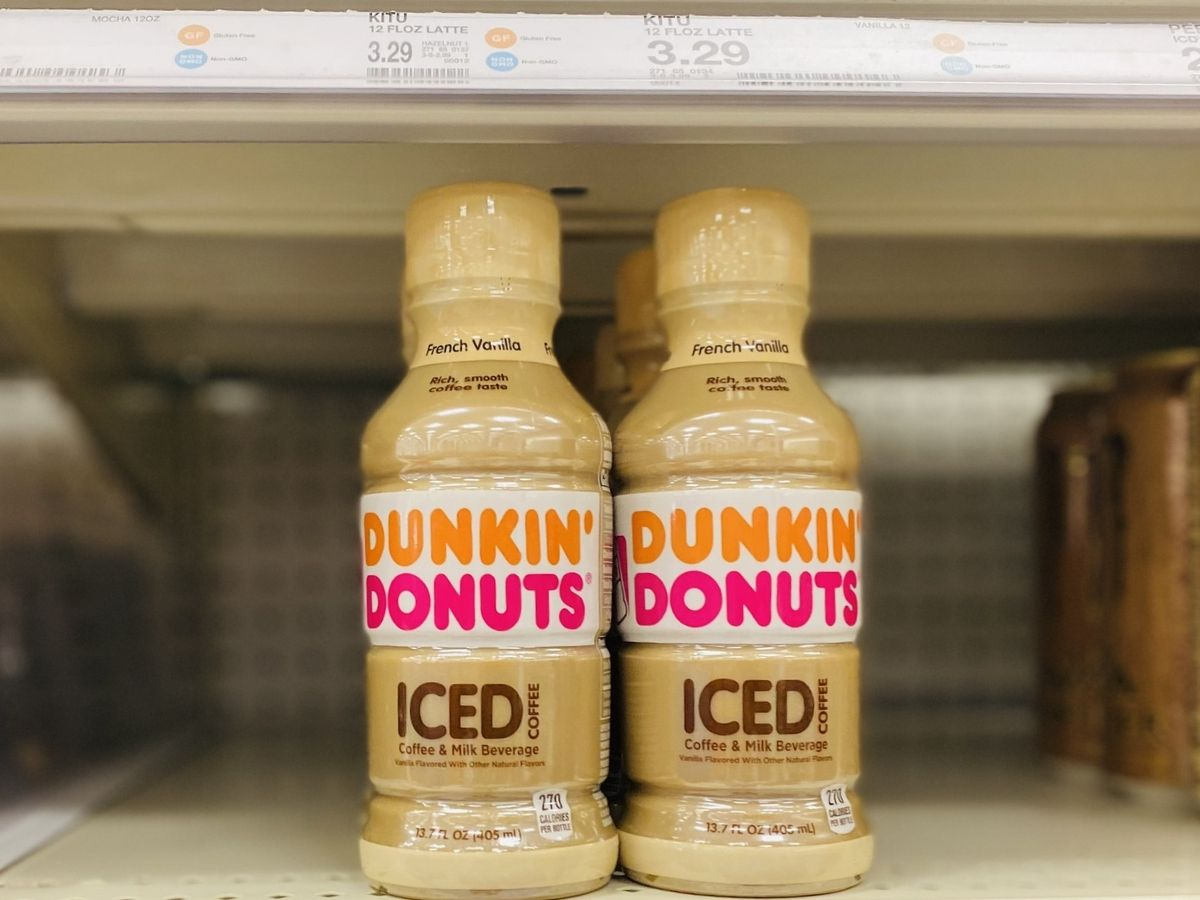 dunkin donuts iced coffee on store shelf
