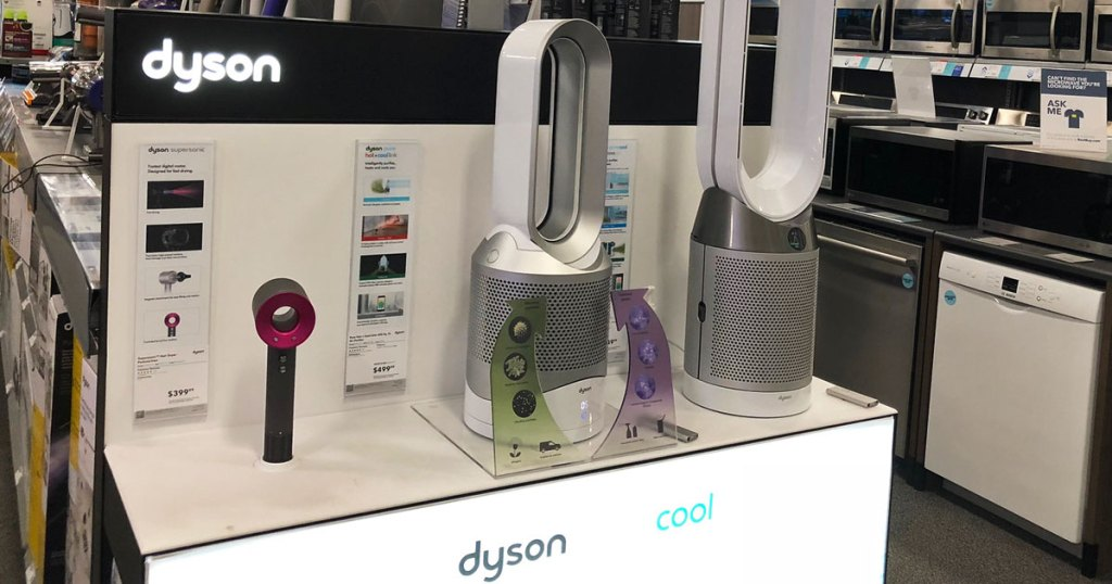 white and grey dyson air purifier fan on display at best buy