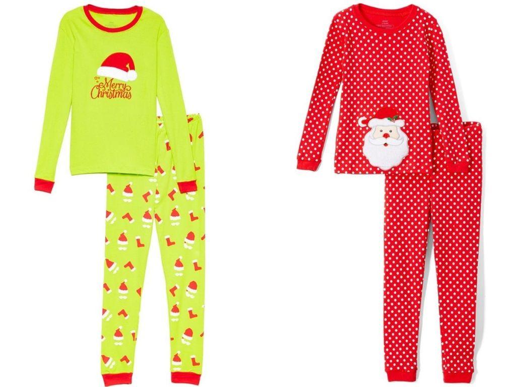 Green Santa hat pjs and red and white polka dot Santa pjs