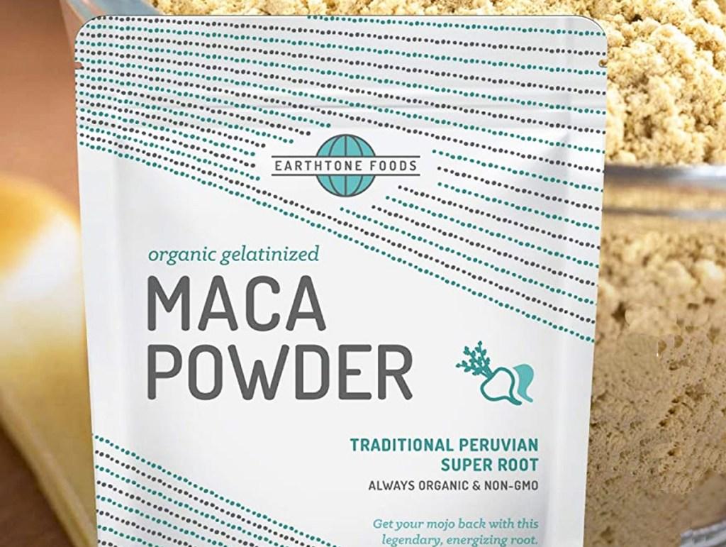 white abd blue bag of earthone foods maca powder