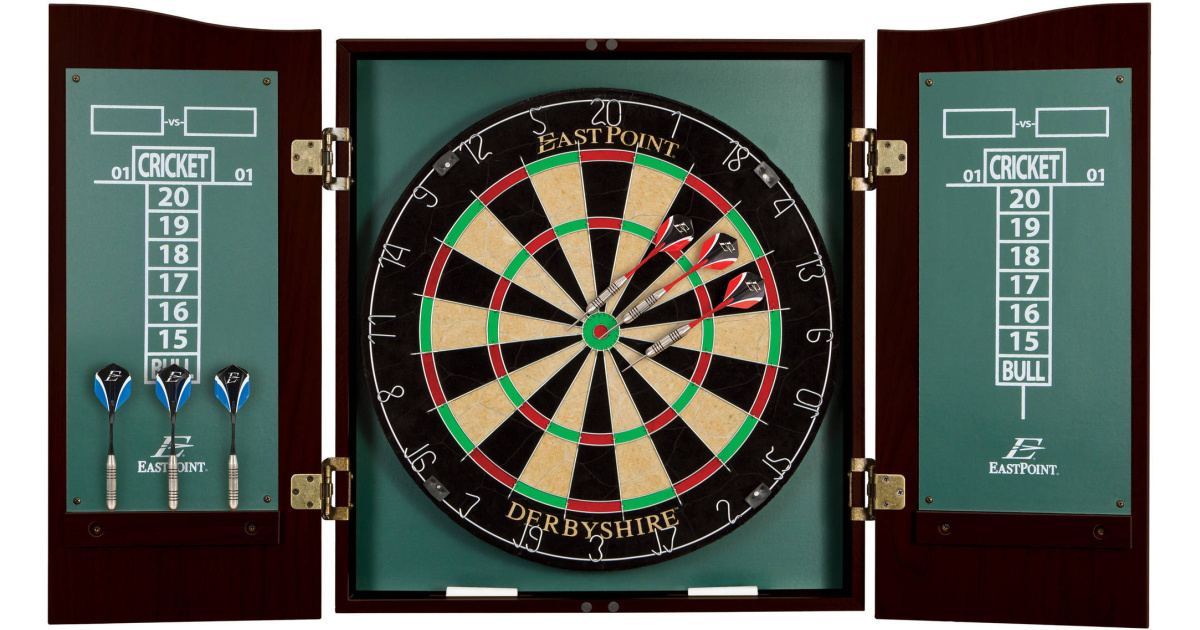 EastPoint Sports Derbyshire Bristle Dartboard with 6 Deluxe Steel Tip Darts