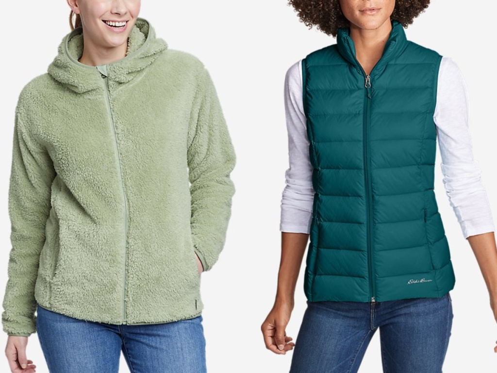 2 women wearing edie bauer apparel