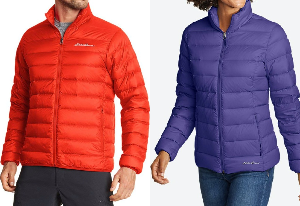 man in bright red down jacket and woman in purple down jacket