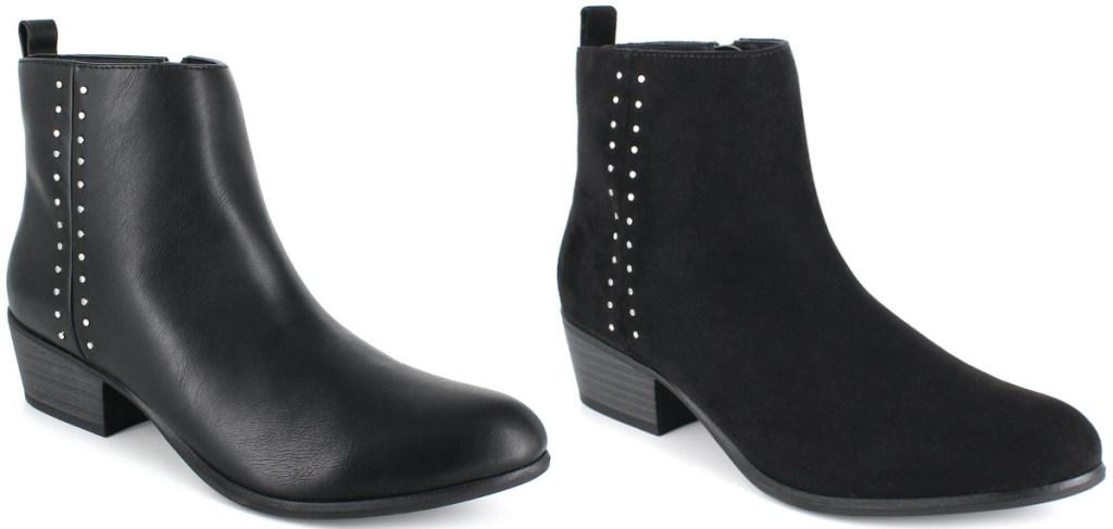 dua sepatu bot wanita kulit hitam