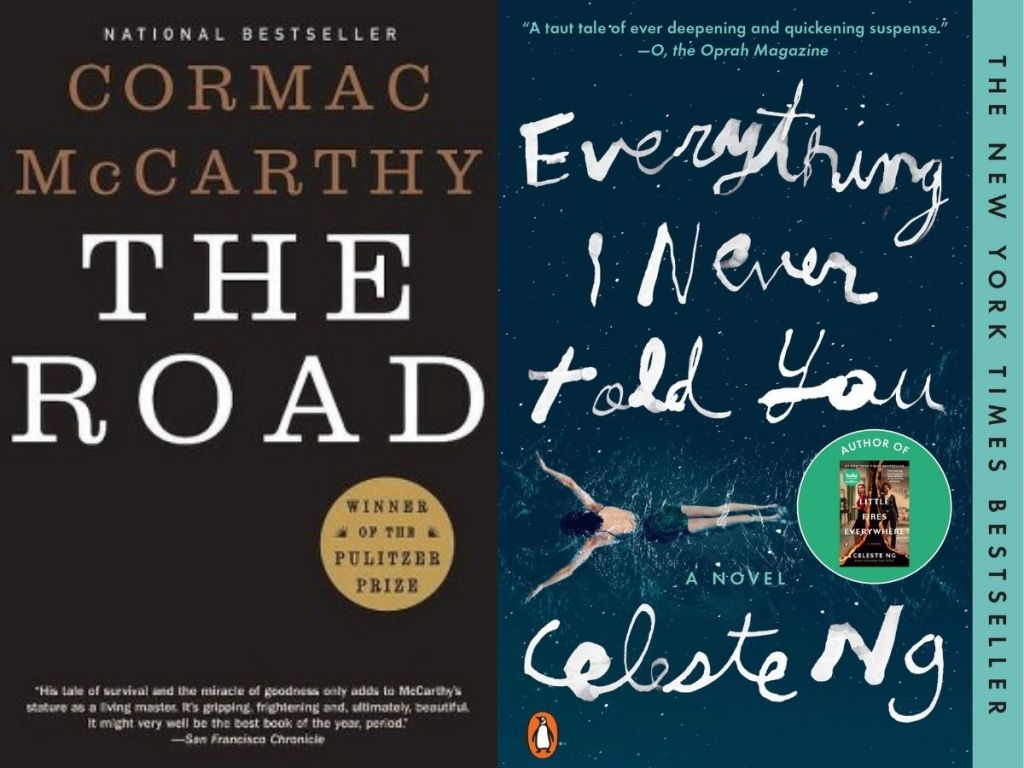 book covers of Everything I Never Told You and the road