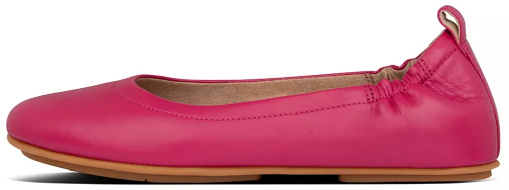 fitflop bright pink leather ballet flats