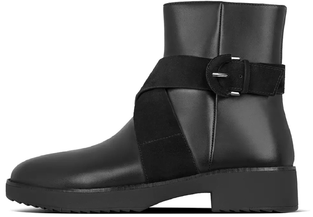 fitflop black leather booties