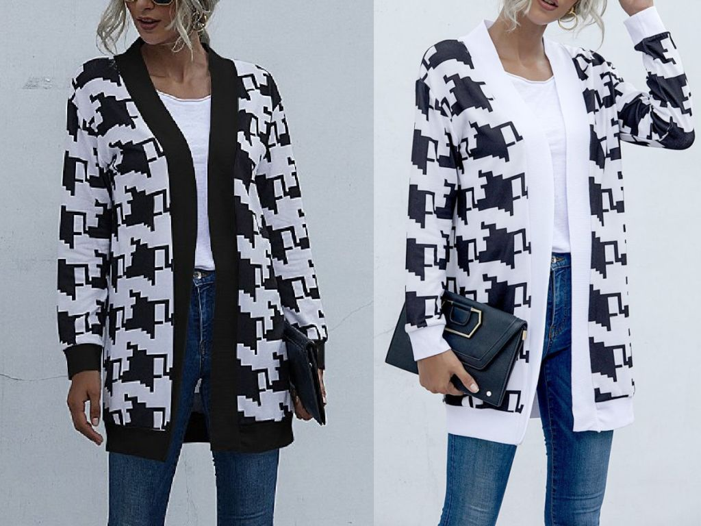 two women wearing Floral Blooming White & Black Houndstooth Open Cardigan