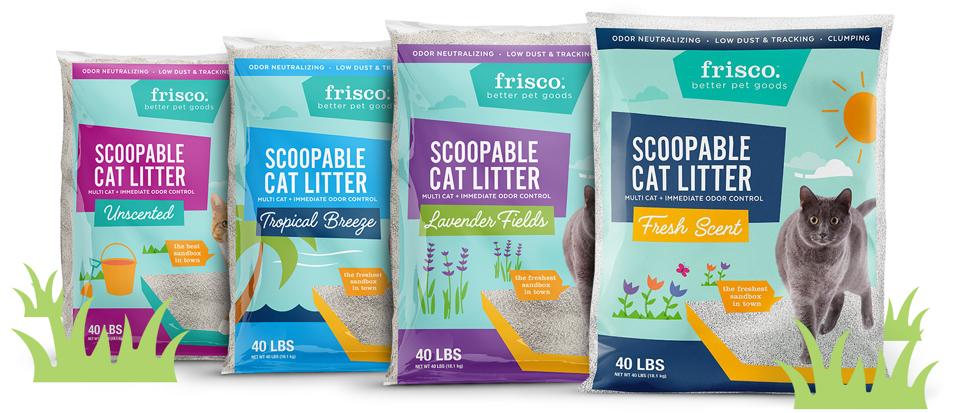 row of Frisco cat litter bags