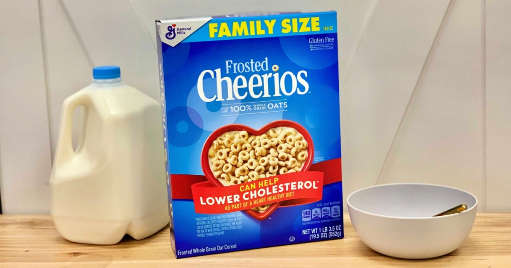 Frosted Cheerios Family Size Box with milk and bowl