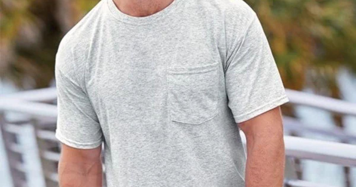 man wearing Fruit of the Loom Men's Pocket T