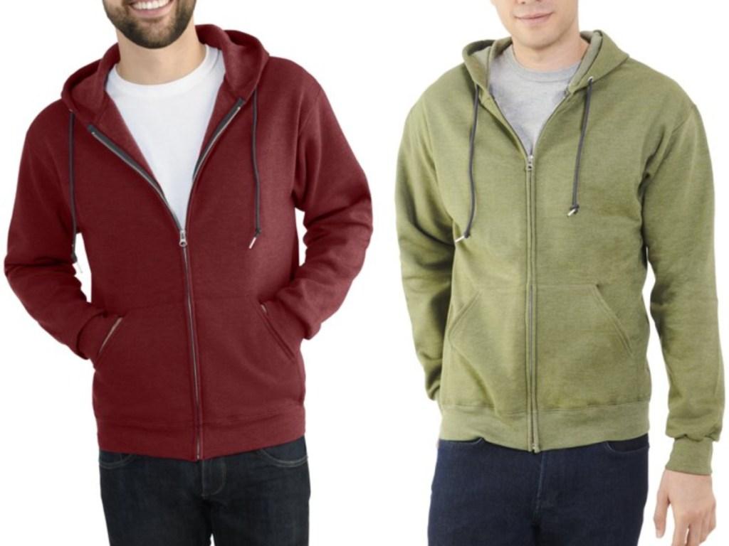 2 men wearing full zip fruit of the loom hoodies