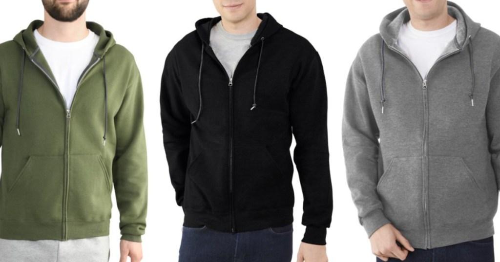 3 men wearing fruit of the loom full zip hoodies
