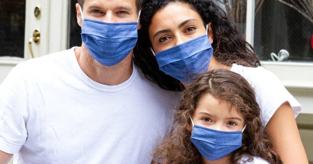 GAP masks in denim on family