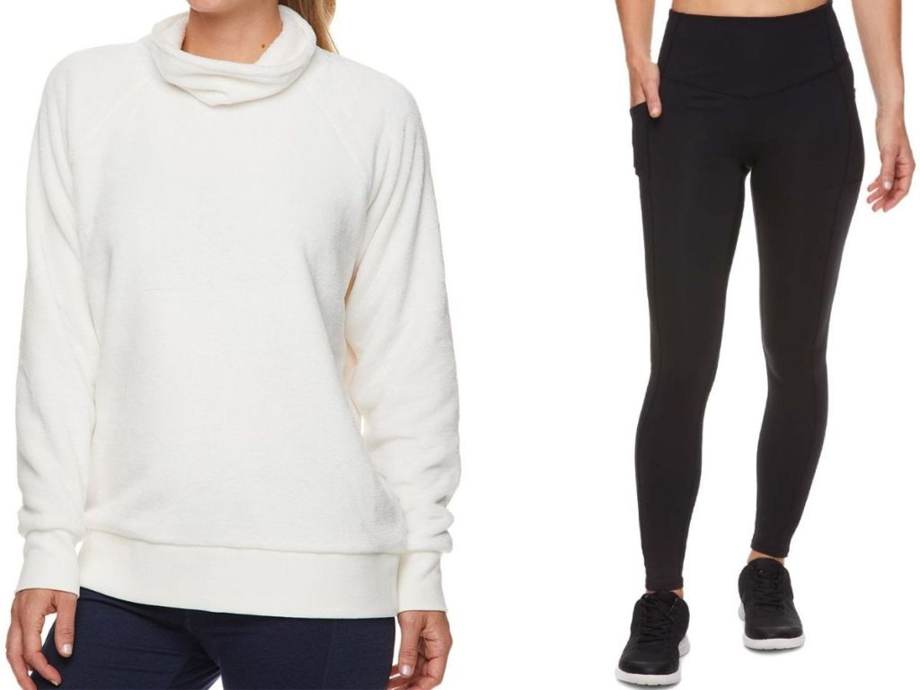 Two women wearing Gaiam cowl neck sherpa top and slim high rise yoga pants