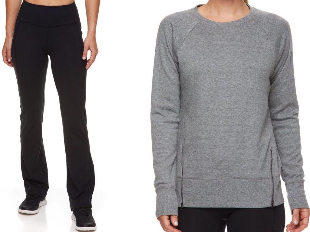 two women wearing Gaiam Yoga pants and side-zip top