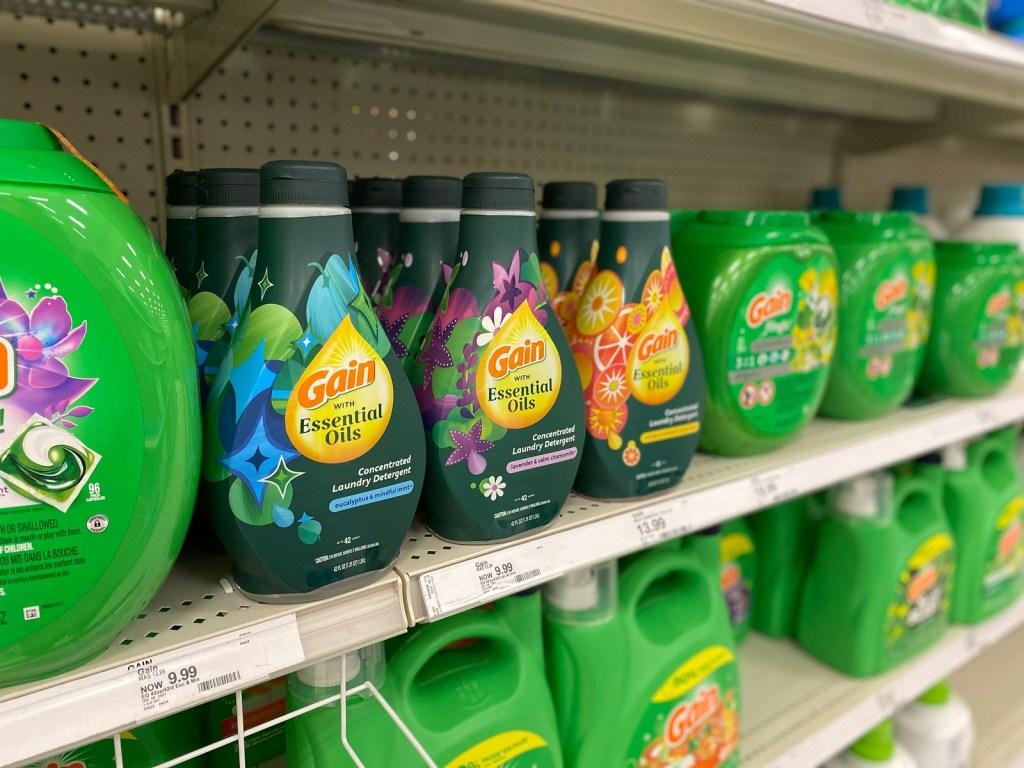 Gain Essential oils detergent on store shelf