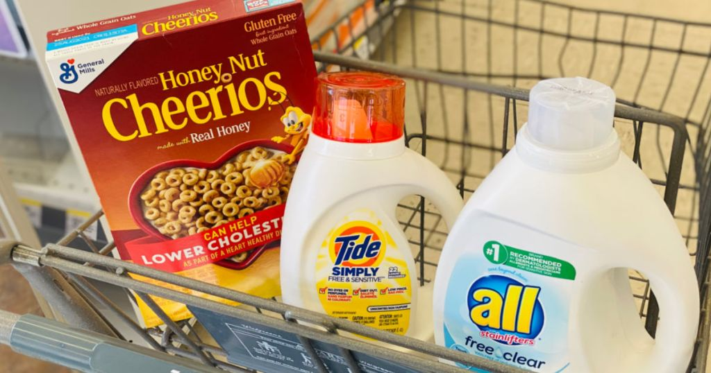 cereal and laundry detergent in cart