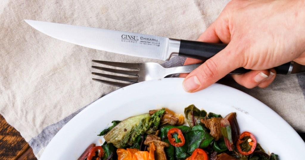 """Ginsu Chikara Series 6-Count Japanese Steel 5"""" Steak Knife Set"""
