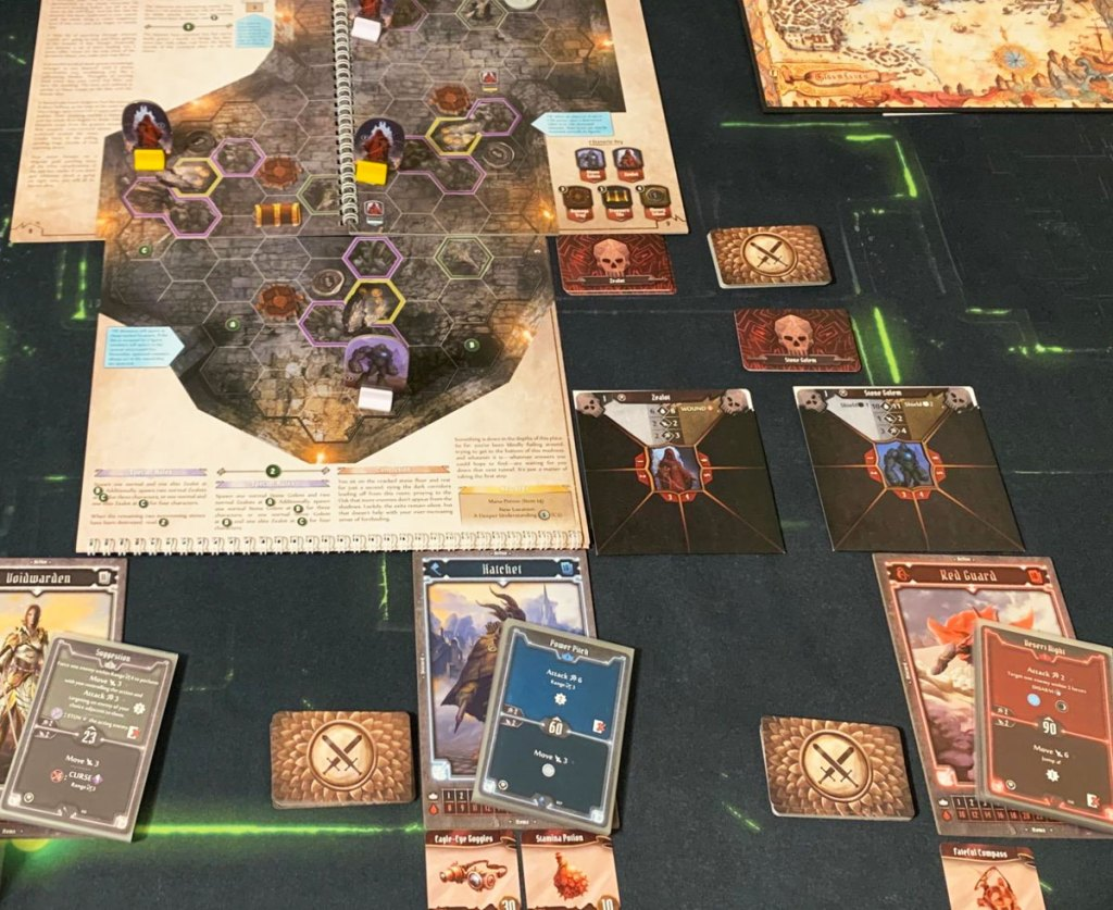 Gloomhaven: Jaws of The Lion Board Game laid out on a table
