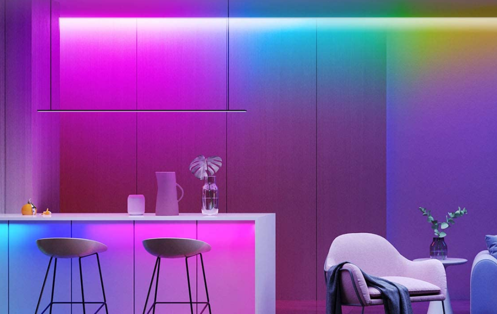 room with colorful lighting