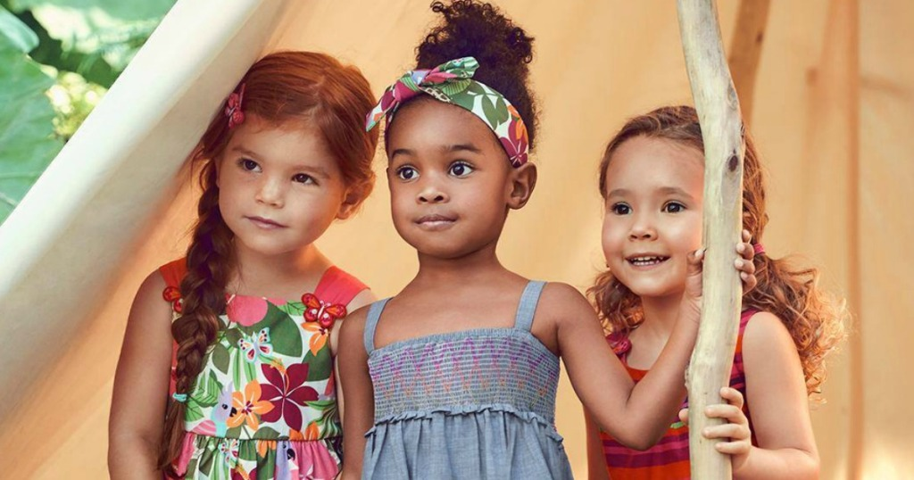 three little girls wearing Gymboree apparel and Accessories