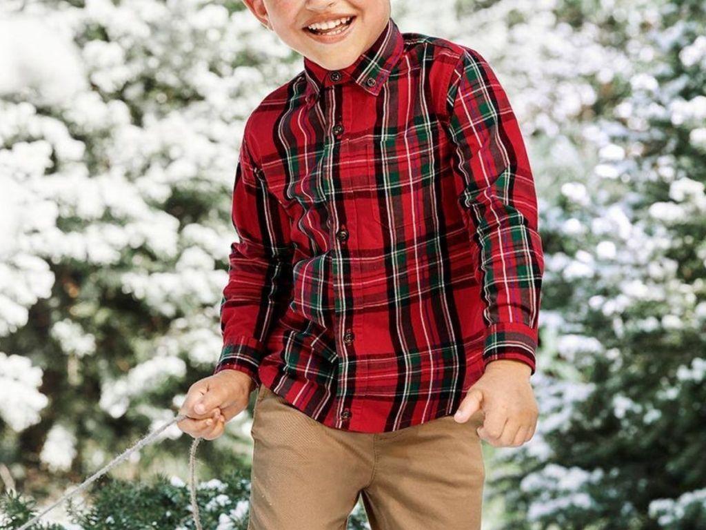 Little boy wearing a Gymboree button-up Shirt