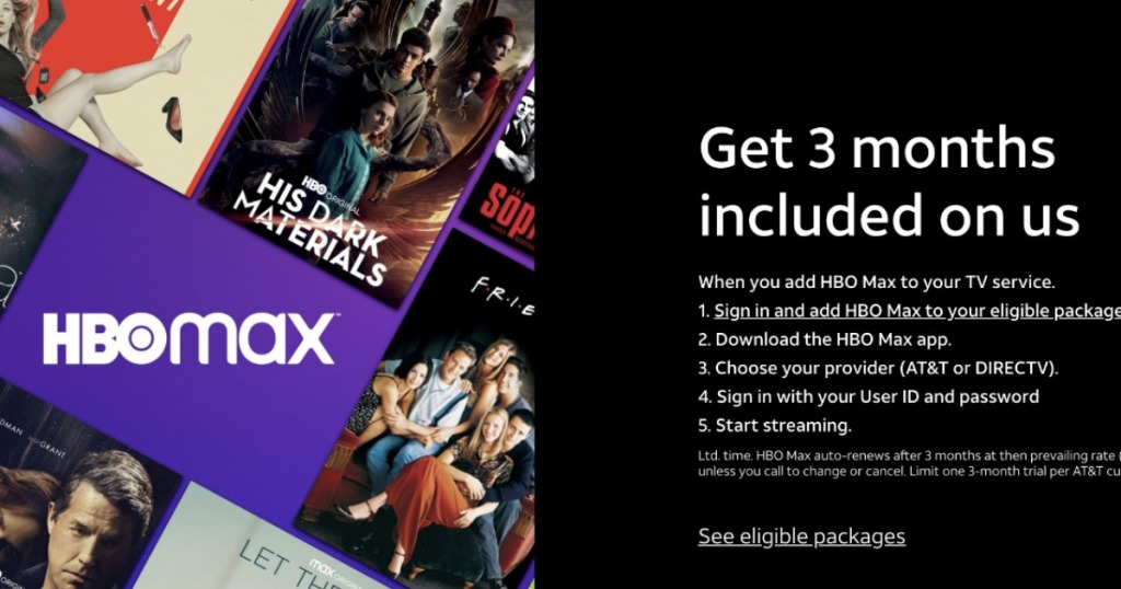 advertisement of HBO Max free 3 months offer